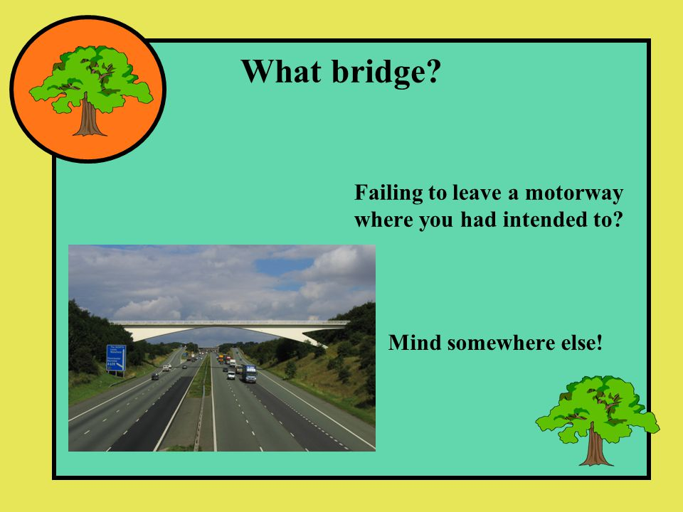 What bridge Failing to leave a motorway where you had intended to Mind somewhere else!