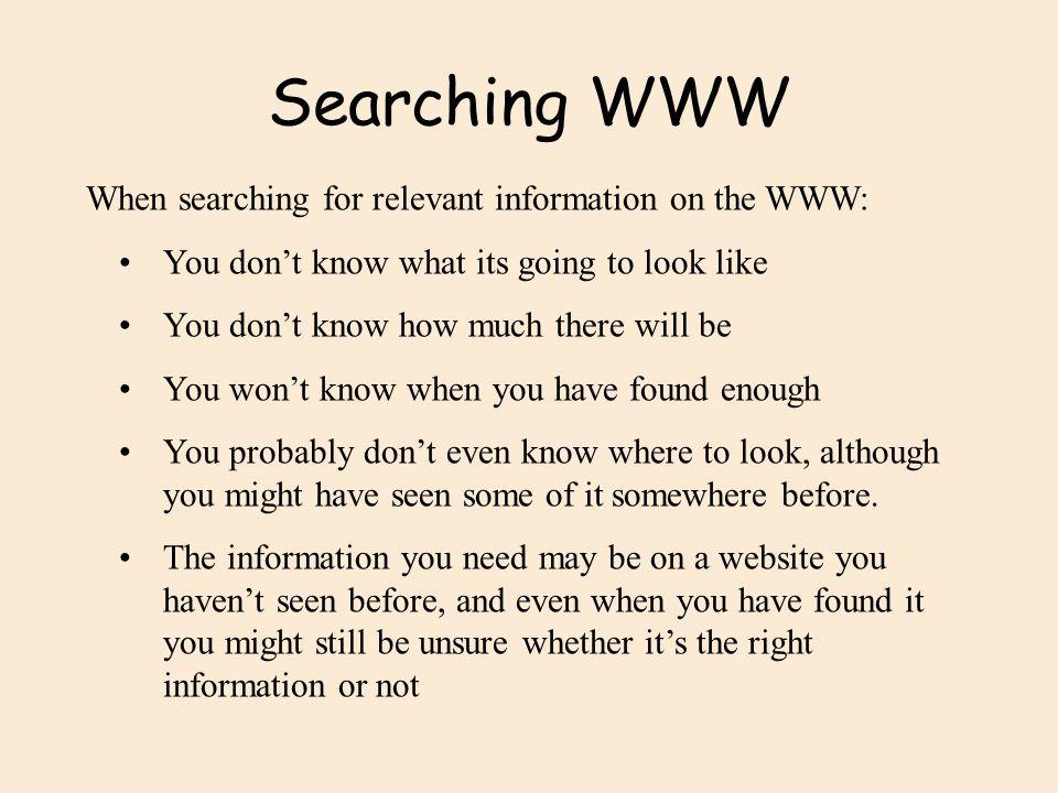 Searching WWW address