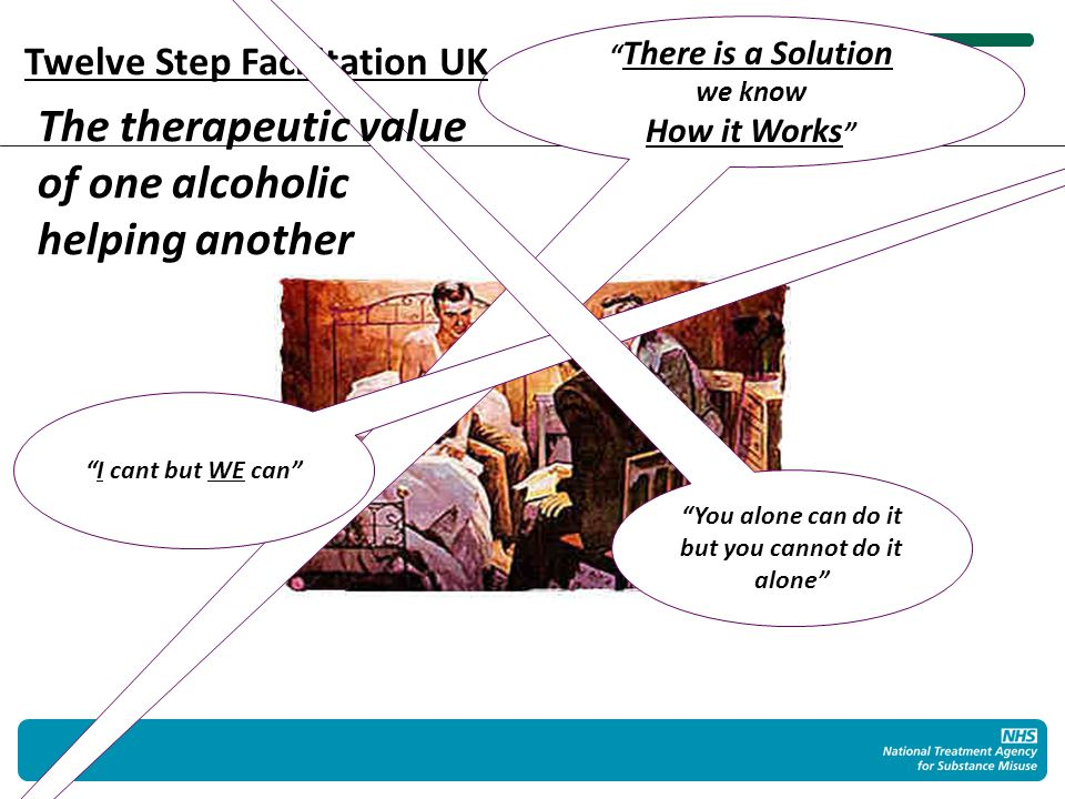 There is a Solution we know How it Works Twelve Step Facilitation UK I cant but WE can You alone can do it but you cannot do it alone The therapeutic value of one alcoholic helping another