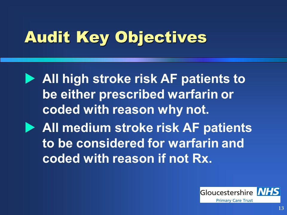 12 Audit Benefits  High quality patient care  REDUCED STROKES, MORBIDITY & MORTALITY  Cost saving  Clinical audit  QOF points - Med Man Action (plus revised AF3 – 12 pts)
