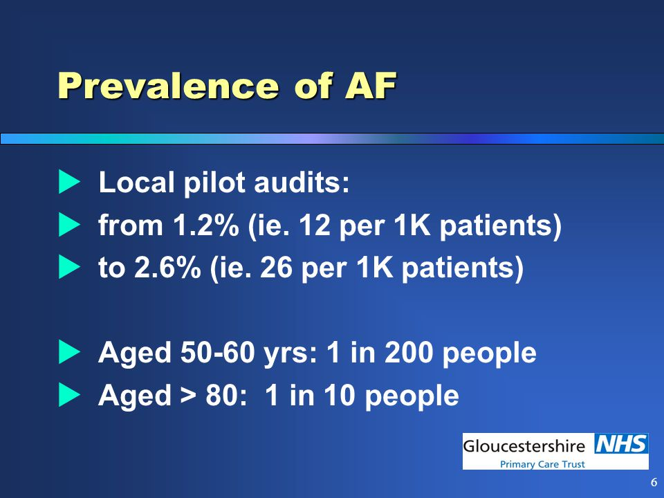 6 Prevalence of AF  Local pilot audits:  from 1.2% (ie.