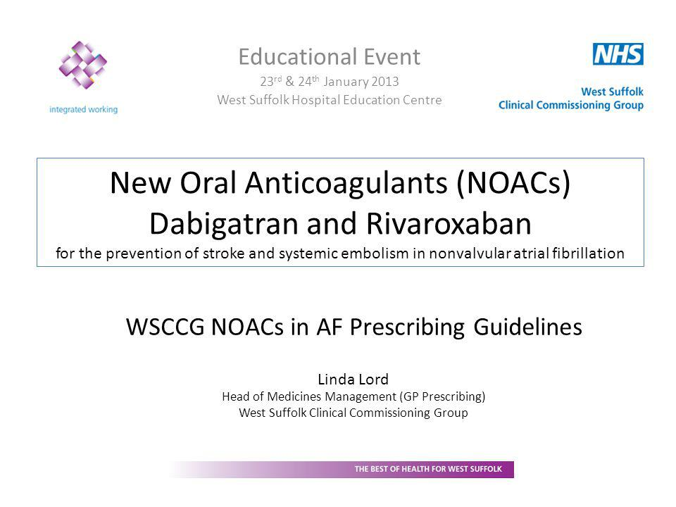 WSCCG NOAC Guidelines Detailed advice on use of NOACs for prevention of stroke and systemic embolism in nonvalvular AF Based on NICE TA 249 and 256 Includes expert advice of local clinicians Core guidance: 15 pages Appendices Manufacturers' Summaries of Product Characteristics