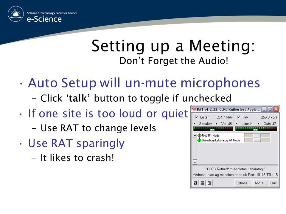 Setting up a Meeting: Don't Forget the Audio.