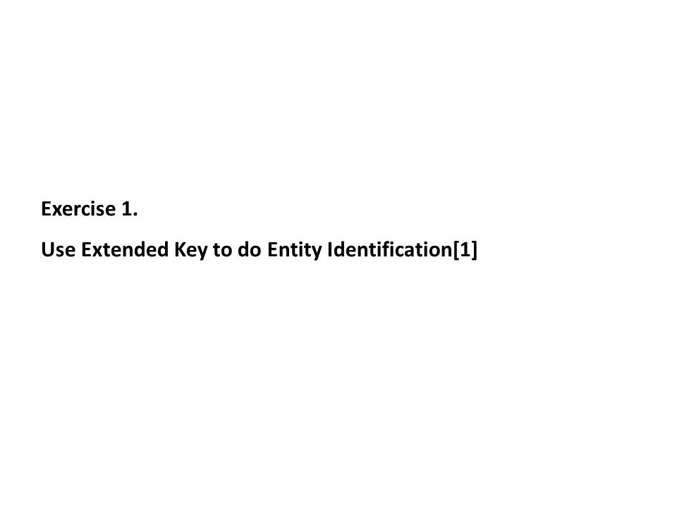 Exercise 1. Use Extended Key to do Entity Identification[1]