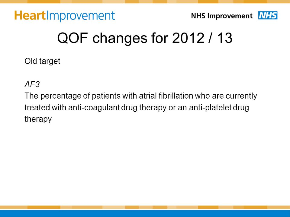 QOF changes for 2012 / 13 Old target AF3 The percentage of patients with atrial fibrillation who are currently treated with anti-coagulant drug therap