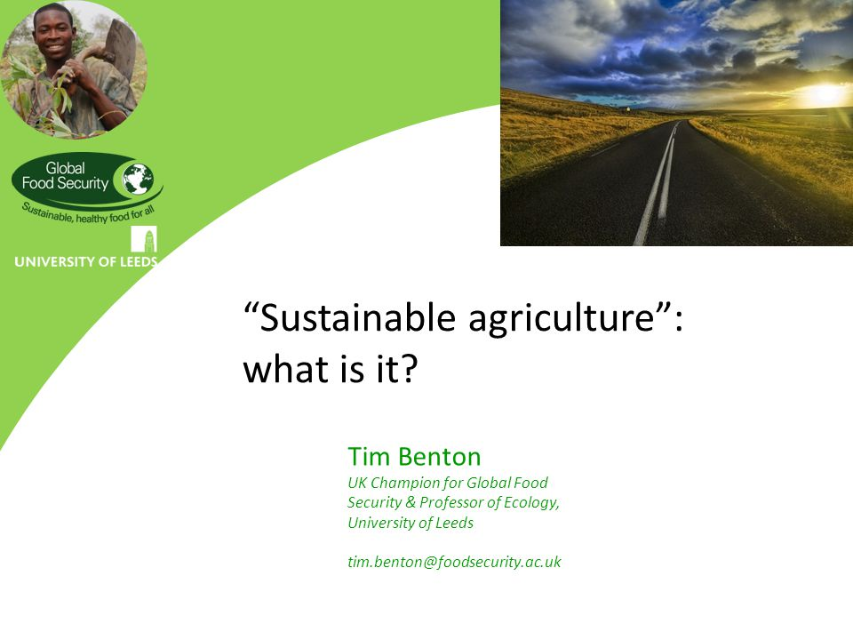 """Sustainable agriculture"": what is it? Tim Benton UK Champion for Global Food Security & Professor of Ecology, University of Leeds tim.benton@foodsecu"
