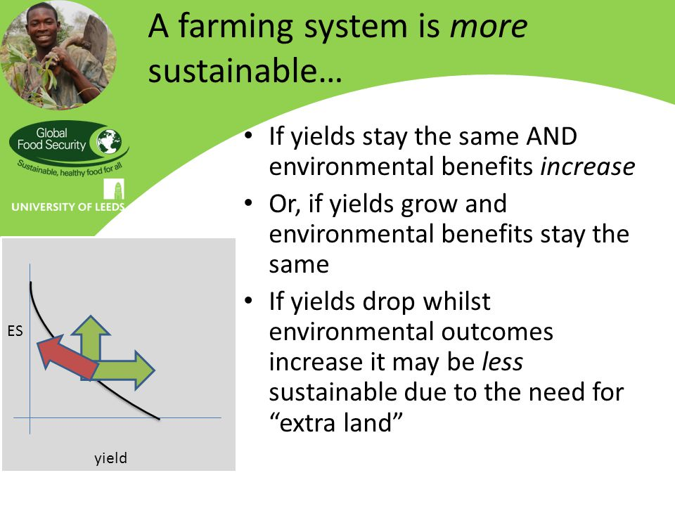 A farming system is more sustainable… If yields stay the same AND environmental benefits increase Or, if yields grow and environmental benefits stay the same If yields drop whilst environmental outcomes increase it may be less sustainable due to the need for extra land yield ES