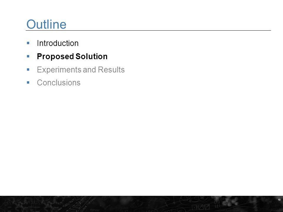 10 Outline  Introduction  Proposed Solution  Experiments and Results  Conclusions MARKERINGSYTA FÖR BILDER När du gör egna slides, placera bilder och andra illustrationer inom dessa fält.