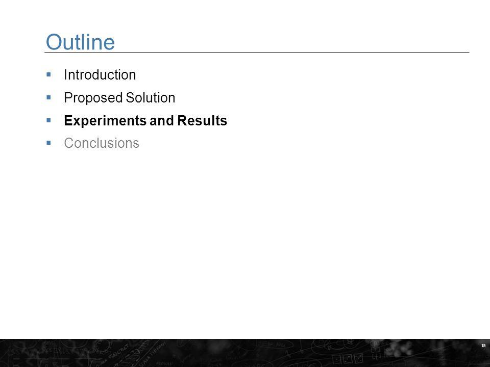 15 Outline  Introduction  Proposed Solution  Experiments and Results  Conclusions MARKERINGSYTA FÖR BILDER När du gör egna slides, placera bilder och andra illustrationer inom dessa fält.