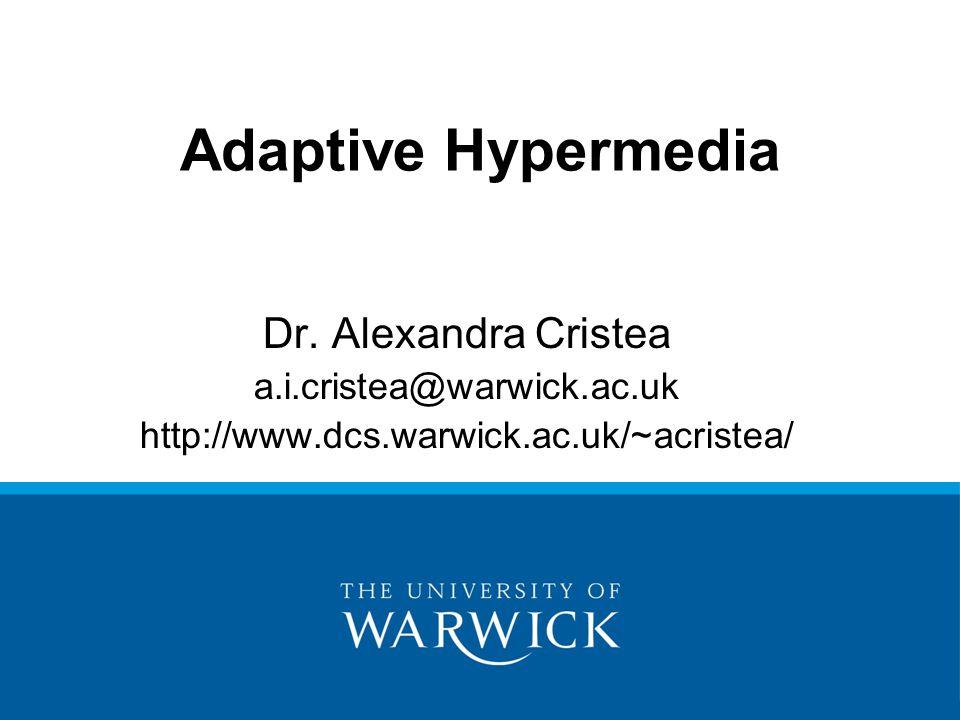Adaptive Hypermedia Dr.