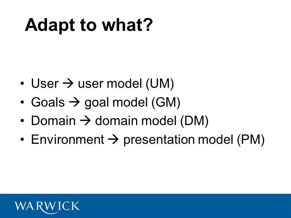 Adapt to what? User  user model (UM) Goals  goal model (GM) Domain  domain model (DM) Environment  presentation model (PM)