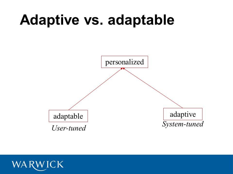 Adaptive vs. adaptable adaptable adaptive personalized User-tuned System-tuned