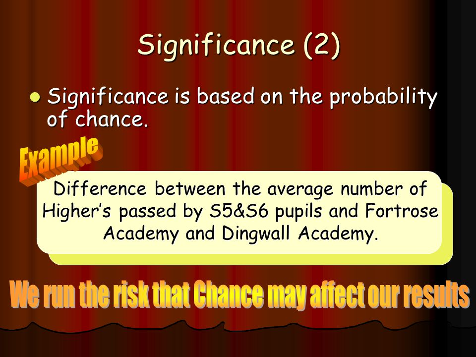 Significance (1) Before carrying out the test we have to decide on a significance level which lets us determine at what point to reject the null hypot