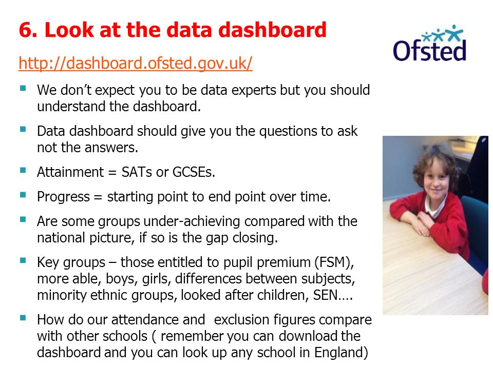 6. Look at the data dashboard http://dashboard.ofsted.gov.uk/  We don't expect you to be data experts but you should understand the dashboard.  Data