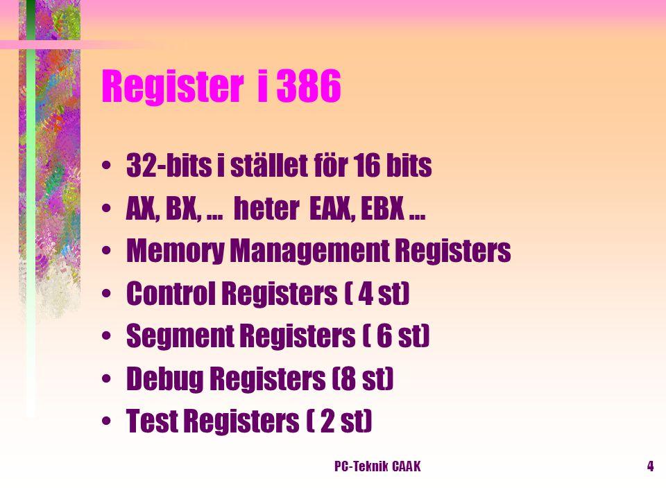 PC-Teknik CAAK4 Register i 386 32-bits i stället för 16 bits AX, BX, … heter EAX, EBX … Memory Management Registers Control Registers ( 4 st) Segment Registers ( 6 st) Debug Registers (8 st) Test Registers ( 2 st)