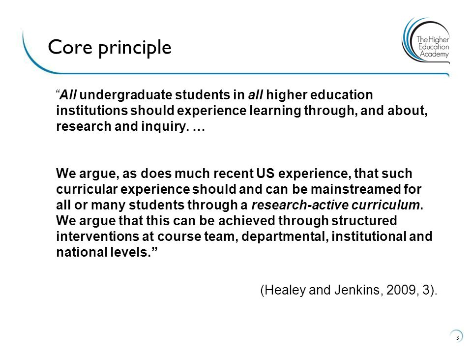 """""""All undergraduate students in all higher education institutions should experience learning through, and about, research and inquiry. … We argue, as d"""