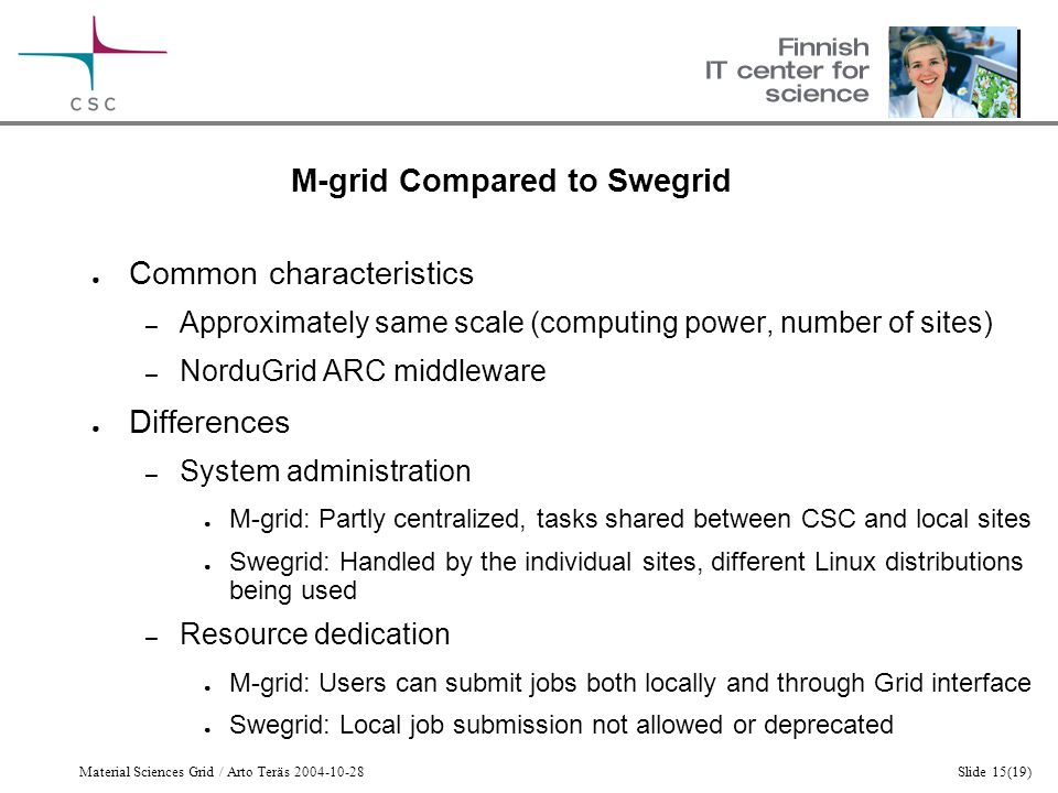 Material Sciences Grid / Arto Teräs 2004-10-28Slide 15(19) M-grid Compared to Swegrid ● Common characteristics – Approximately same scale (computing power, number of sites) – NorduGrid ARC middleware ● Differences – System administration ● M-grid: Partly centralized, tasks shared between CSC and local sites ● Swegrid: Handled by the individual sites, different Linux distributions being used – Resource dedication ● M-grid: Users can submit jobs both locally and through Grid interface ● Swegrid: Local job submission not allowed or deprecated