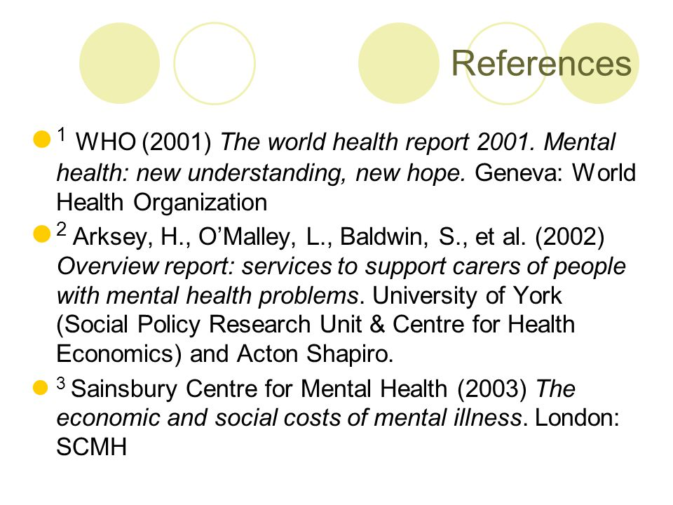 References 1 WHO (2001) The world health report 2001.