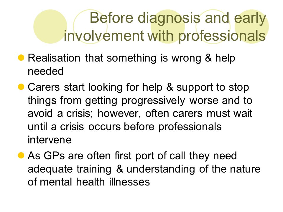 Before diagnosis and early involvement with professionals Realisation that something is wrong & help needed Carers start looking for help & support to stop things from getting progressively worse and to avoid a crisis; however, often carers must wait until a crisis occurs before professionals intervene As GPs are often first port of call they need adequate training & understanding of the nature of mental health illnesses