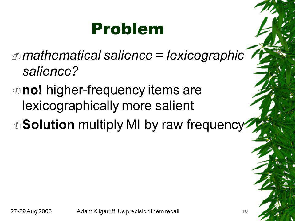 27-29 Aug 2003Adam Kilgarriff: Us precision them recall19 Problem  mathematical salience = lexicographic salience.