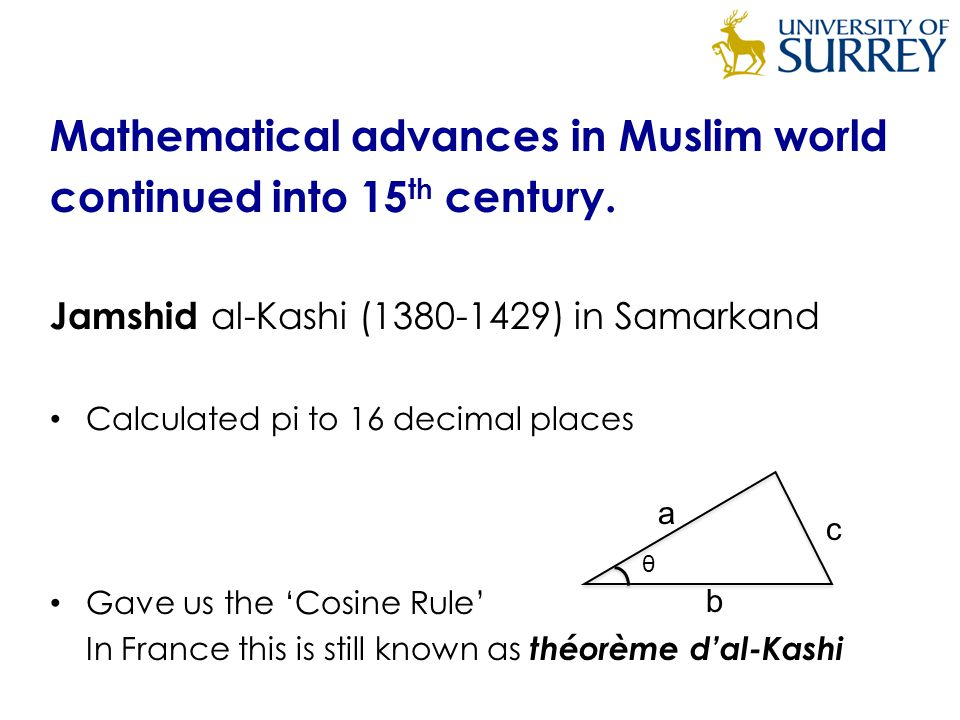 Mathematical advances in Muslim world continued into 15 th century.