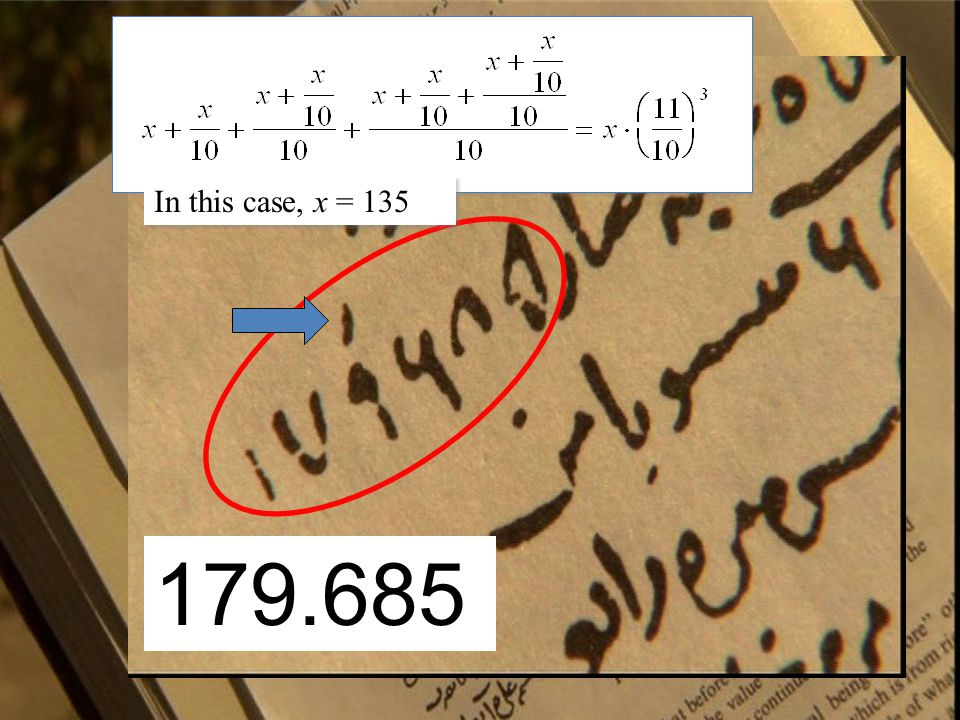 179.685 In this case, x = 135