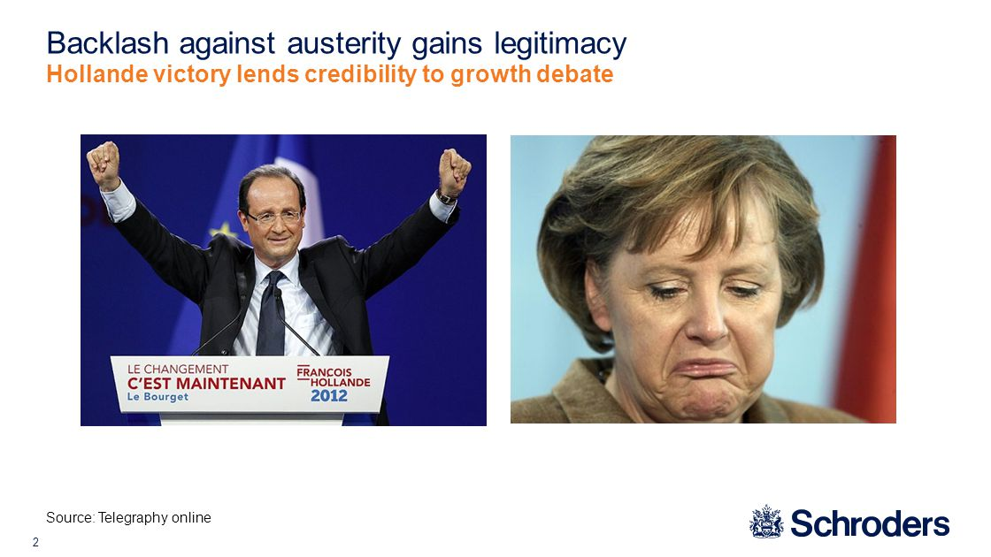2 Backlash against austerity gains legitimacy Hollande victory lends credibility to growth debate Source: Telegraphy online