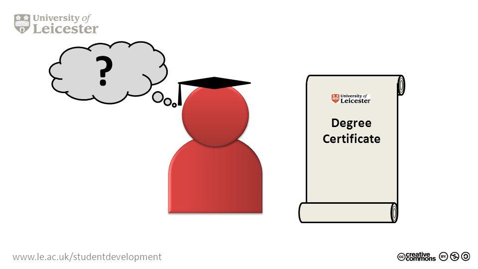 www.le.ac.uk/studentdevelopment Degree Certificate