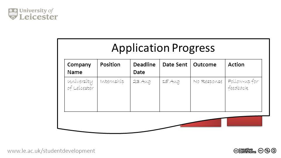 www.le.ac.uk/studentdevelopment CV Application Progress Company Name PositionDeadline Date Date SentOutcomeAction University of Leicester Internship23 Aug15 AugNo ResponseFollow-up for feedback