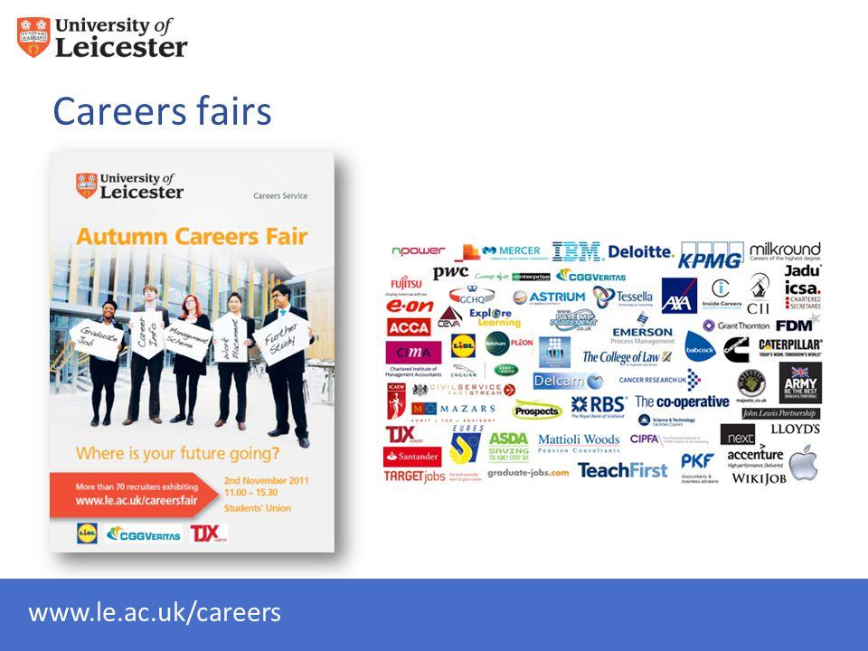 www.le.ac.uk/careers Careers fairs