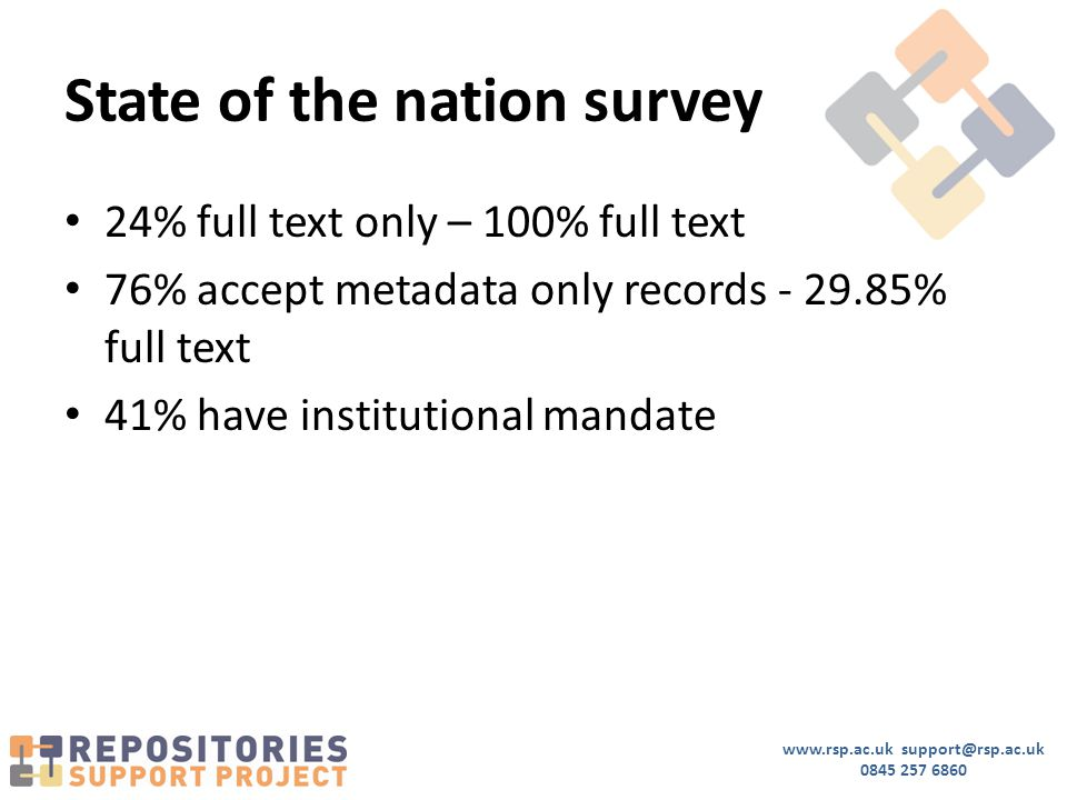 State of the nation survey 24% full text only – 100% full text 76% accept metadata only records % full text 41% have institutional mandate