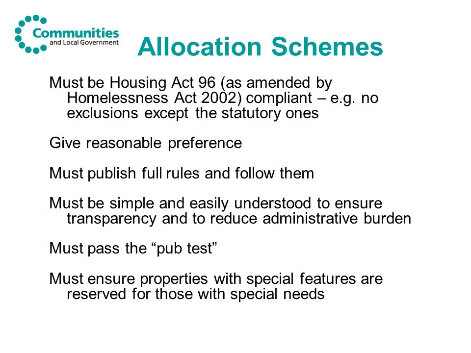 Allocation Schemes Must be Housing Act 96 (as amended by Homelessness Act 2002) compliant – e.g.