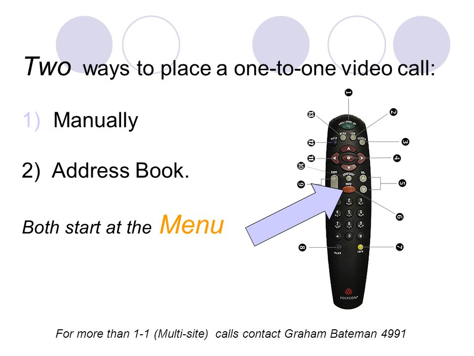 Two ways to place a one-to-one video call: 1)Manually 2) Address Book. Both start at the Menu For more than 1-1 (Multi-site) calls contact Graham Bate