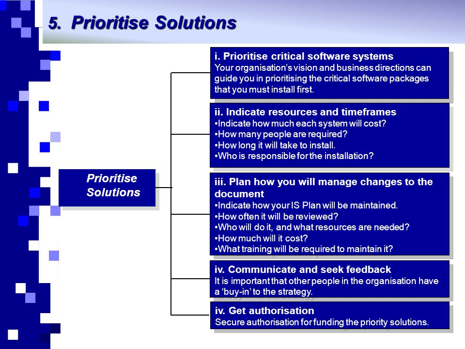 5. Prioritise Solutions Prioritise Solutions i. Prioritise critical software systems Your organisation's vision and business directions can guide you