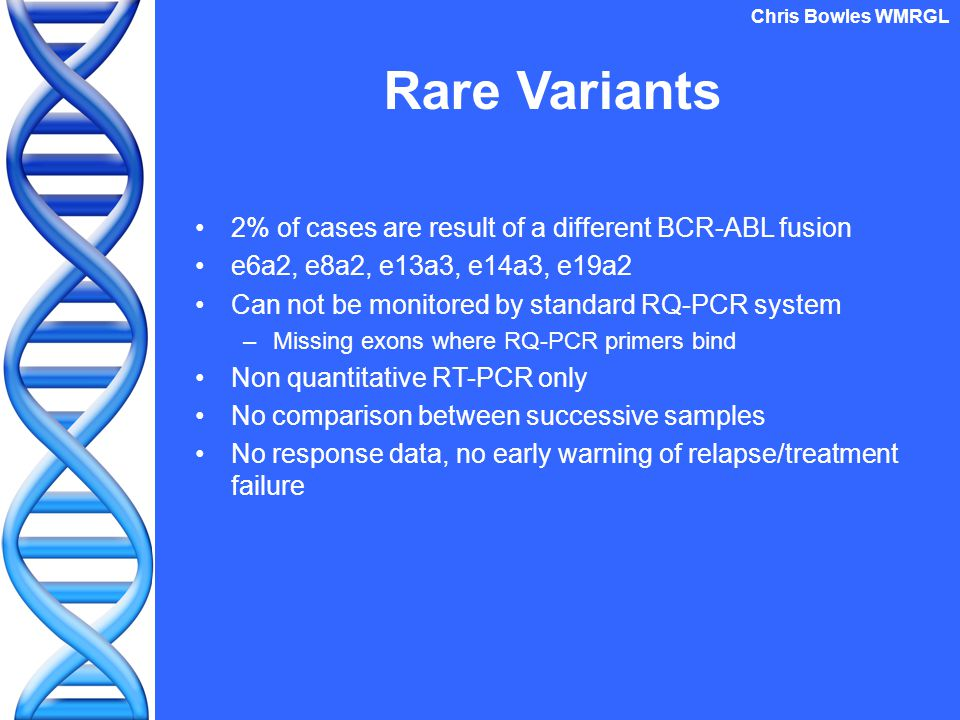 2% of cases are result of a different BCR-ABL fusion e6a2, e8a2, e13a3, e14a3, e19a2 Can not be monitored by standard RQ-PCR system –Missing exons where RQ-PCR primers bind Non quantitative RT-PCR only No comparison between successive samples No response data, no early warning of relapse/treatment failure Rare Variants Chris Bowles WMRGL