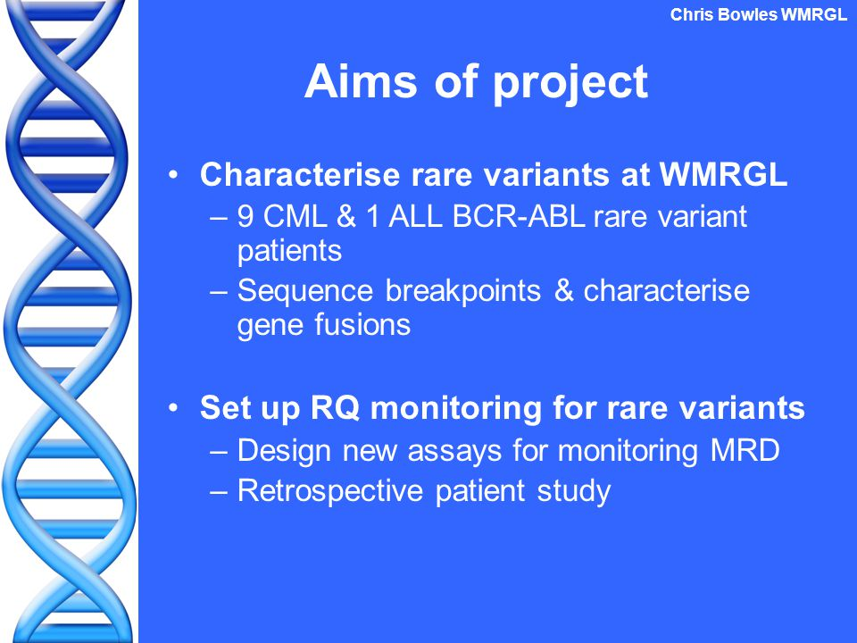 Aims of project Characterise rare variants at WMRGL –9 CML & 1 ALL BCR-ABL rare variant patients –Sequence breakpoints & characterise gene fusions Set up RQ monitoring for rare variants –Design new assays for monitoring MRD –Retrospective patient study Chris Bowles WMRGL