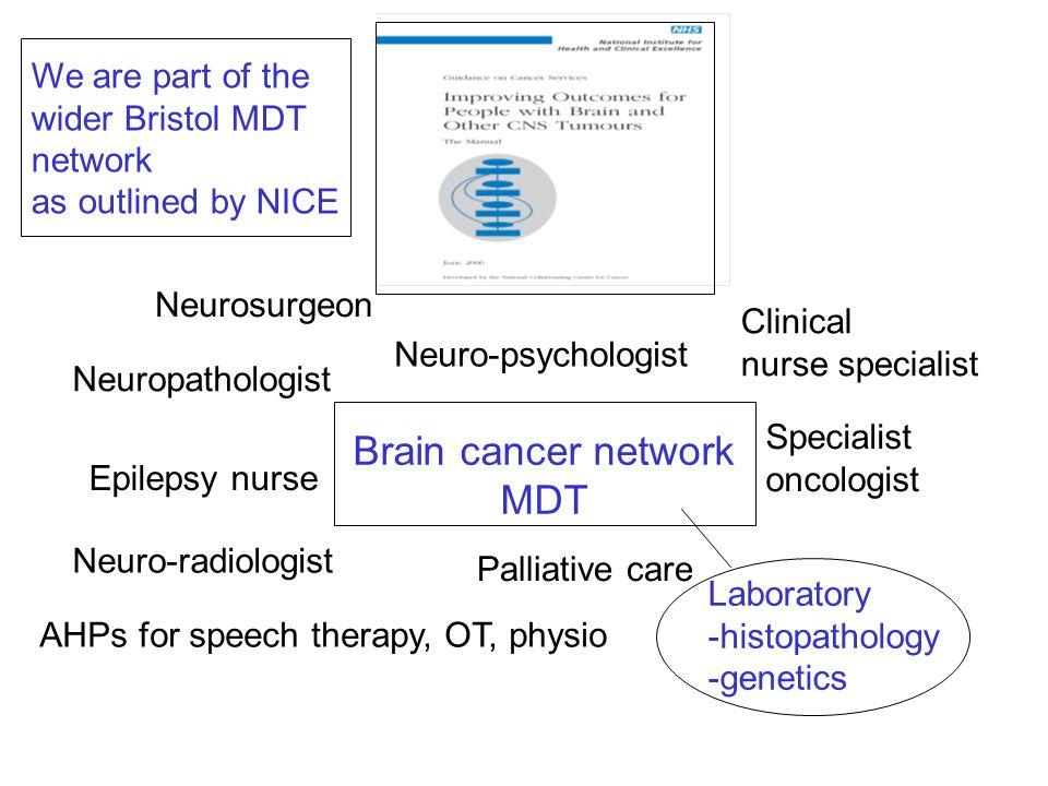 Laboratory -histopathology -genetics Neurosurgeon Neuropathologist Neuro-radiologist Specialist oncologist Palliative care Clinical nurse specialist E