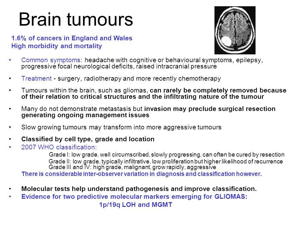 Brain tumours Common symptoms: headache with cognitive or behavioural symptoms, epilepsy, progressive focal neurological deficits, raised intracranial
