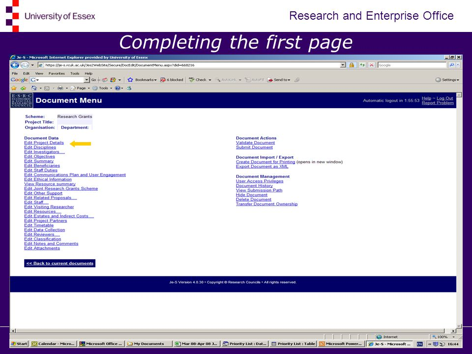 Research and Enterprise Office Completing the first page