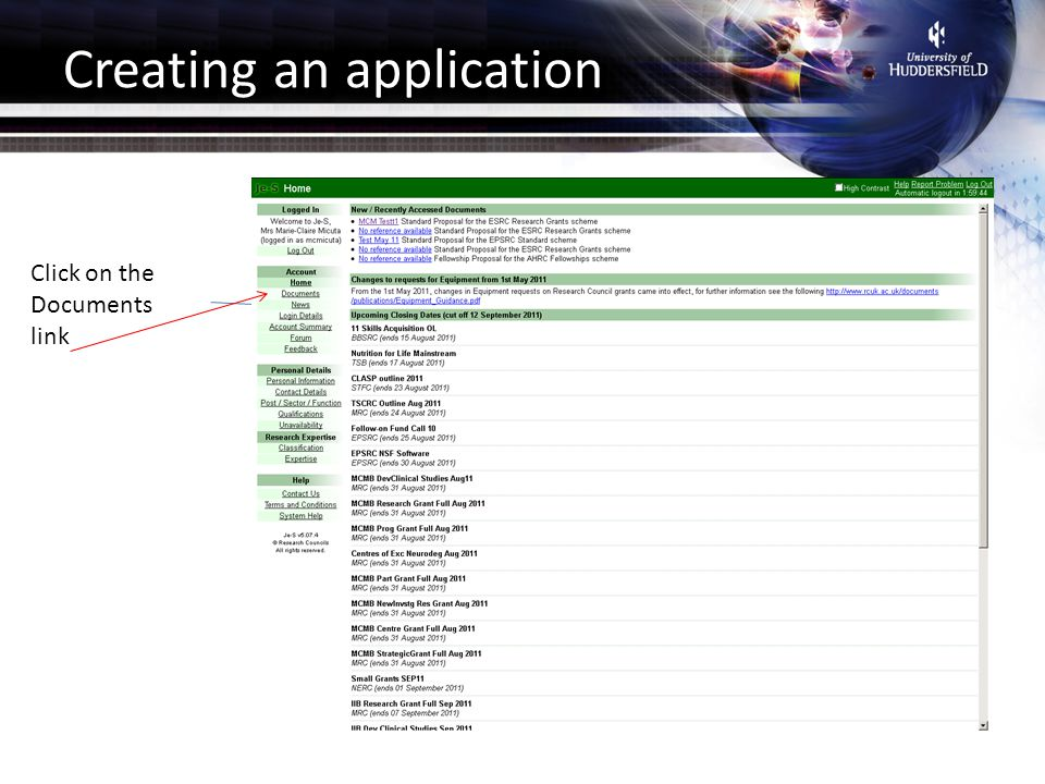 Creating an application Click on the Documents link