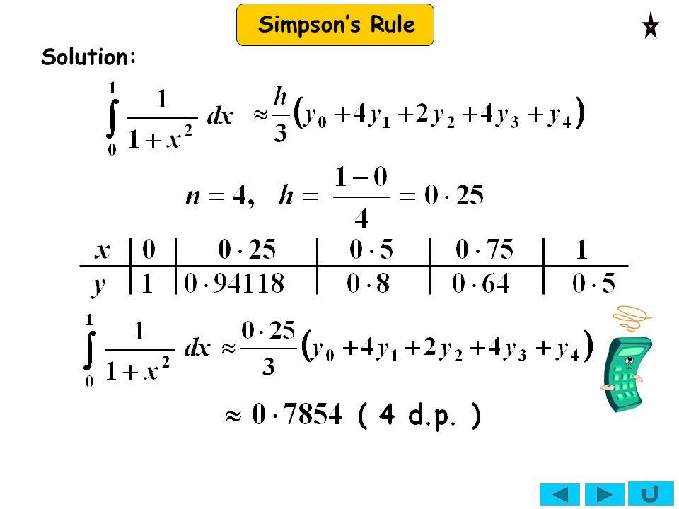 Simpson's Rule Solution: