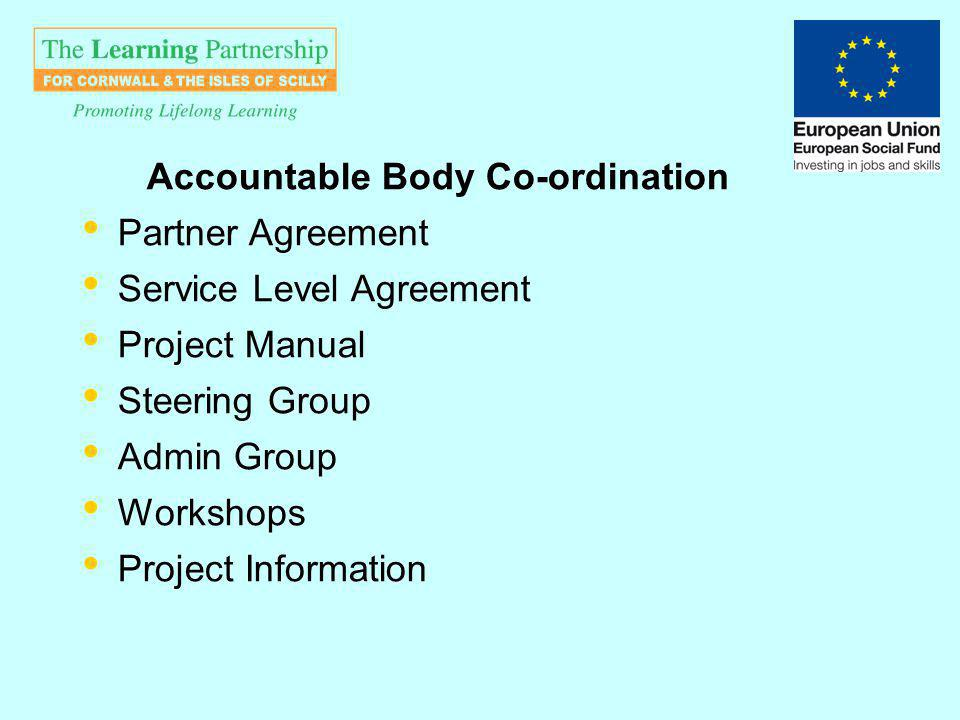 Accountable Body Co-ordination Partner Agreement Service Level Agreement Project Manual Steering Group Admin Group Workshops Project Information