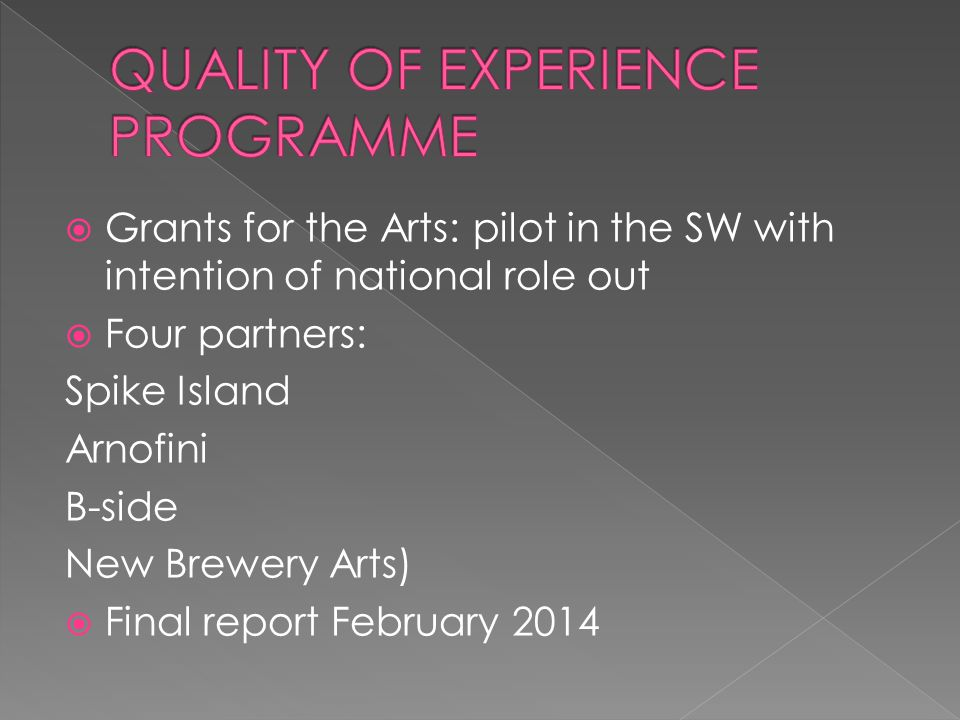  Grants for the Arts: pilot in the SW with intention of national role out  Four partners: Spike Island Arnofini B-side New Brewery Arts)  Final report February 2014