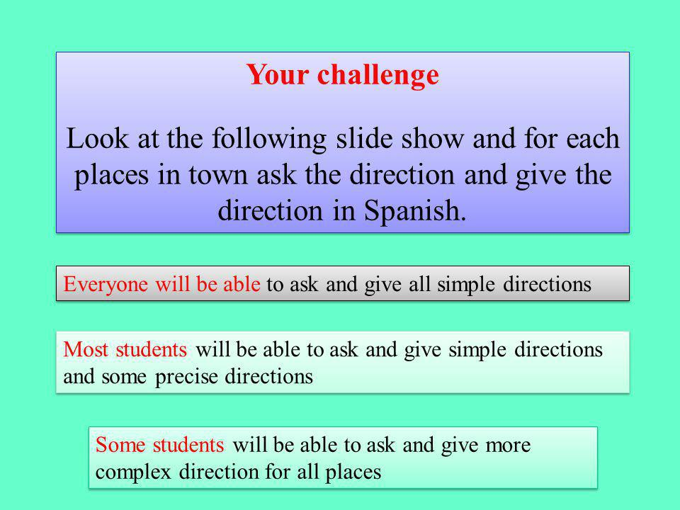 Your challenge Look at the following slide show and for each places in town ask the direction and give the direction in Spanish.