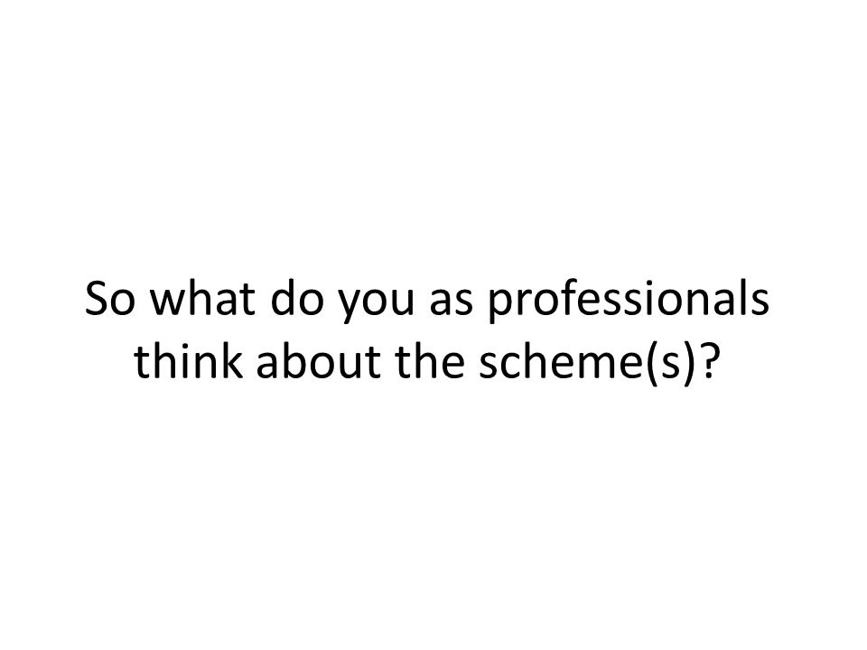 So what do you as professionals think about the scheme(s)