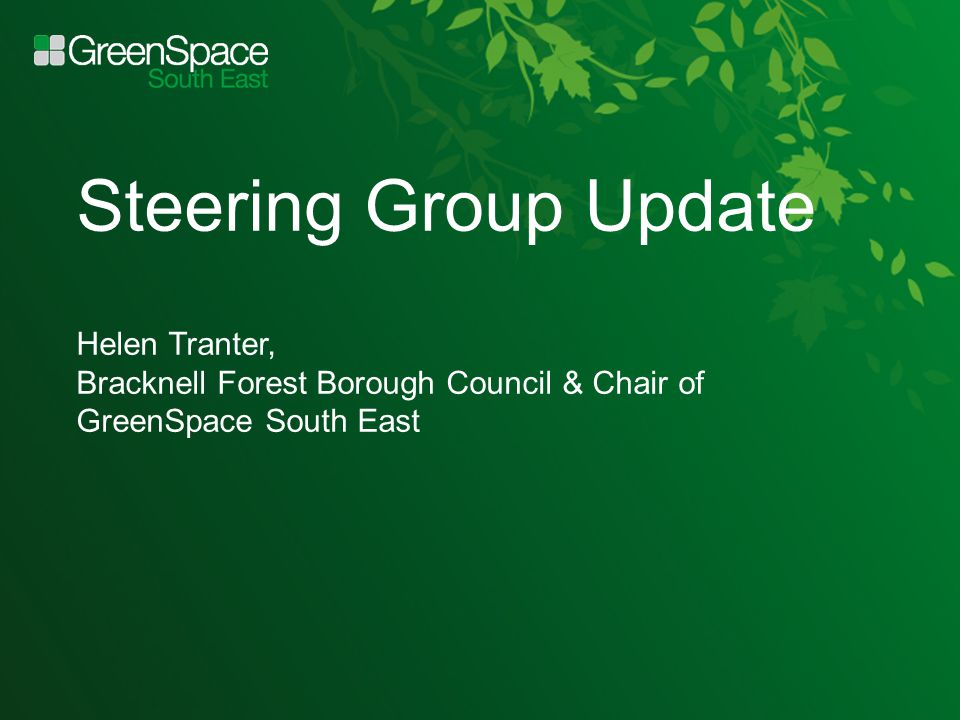 Steering Group Update Helen Tranter, Bracknell Forest Borough Council & Chair of GreenSpace South East
