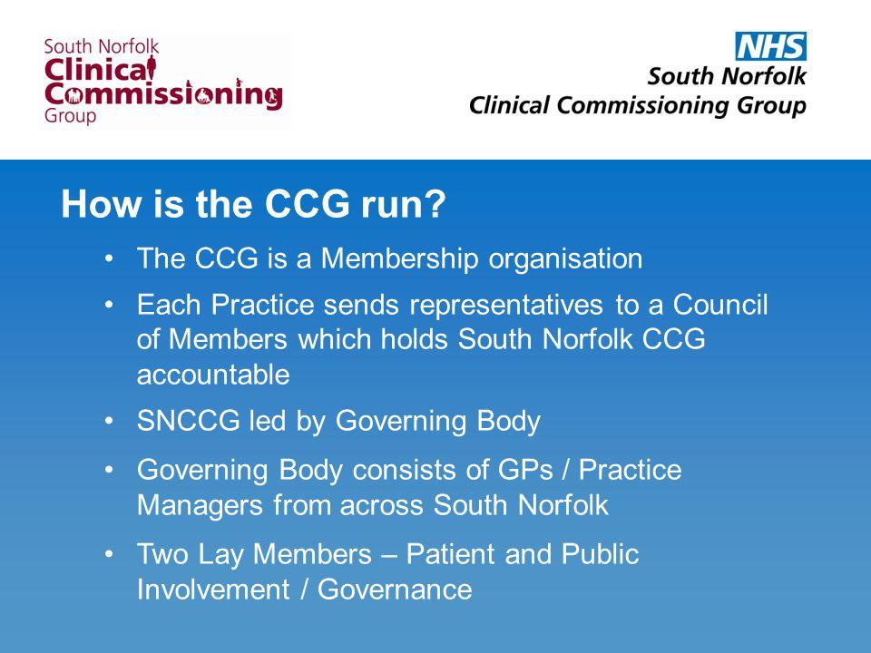 How is the CCG run.