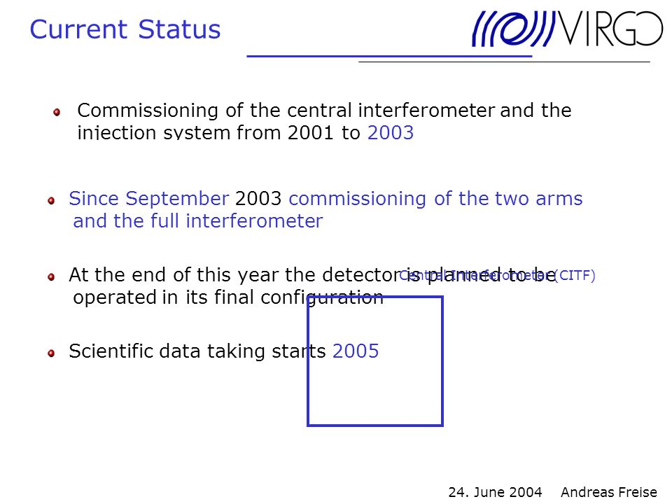 24. June 2004 Andreas Freise Current Status Commissioning of the central interferometer and the injection system from 2001 to 2003 Since September 200