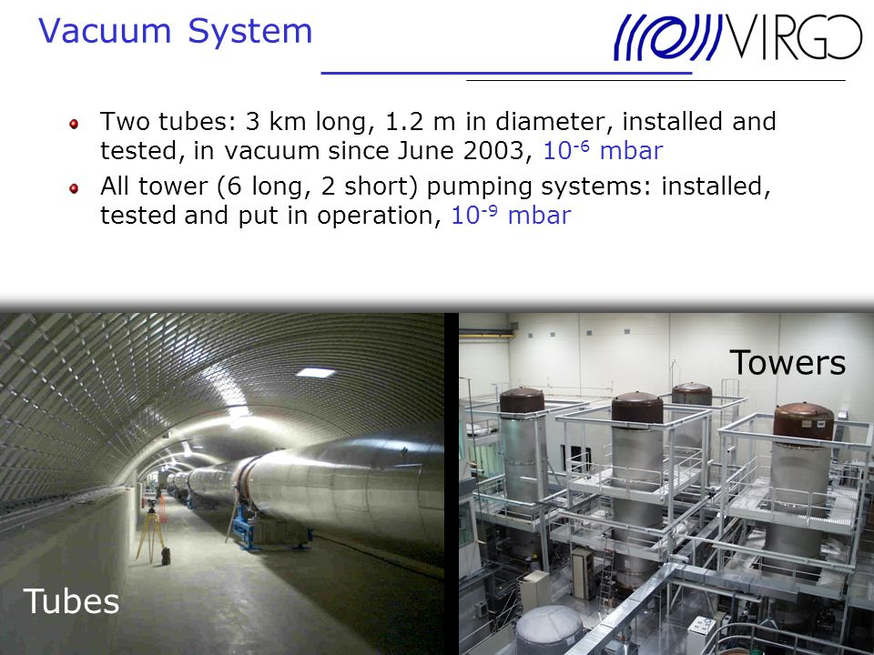 24. June 2004 Andreas Freise Vacuum System Two tubes: 3 km long, 1.2 m in diameter, installed and tested, in vacuum since June 2003, 10 -6 mbar All to