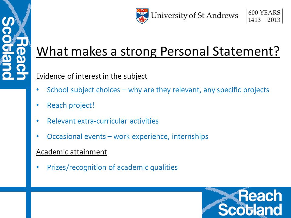 What makes a strong Personal Statement.